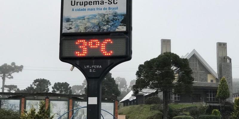 Semana começa com temperaturas negativas em SC; Fraiburgo registra -1°C e Urupema 0°C
