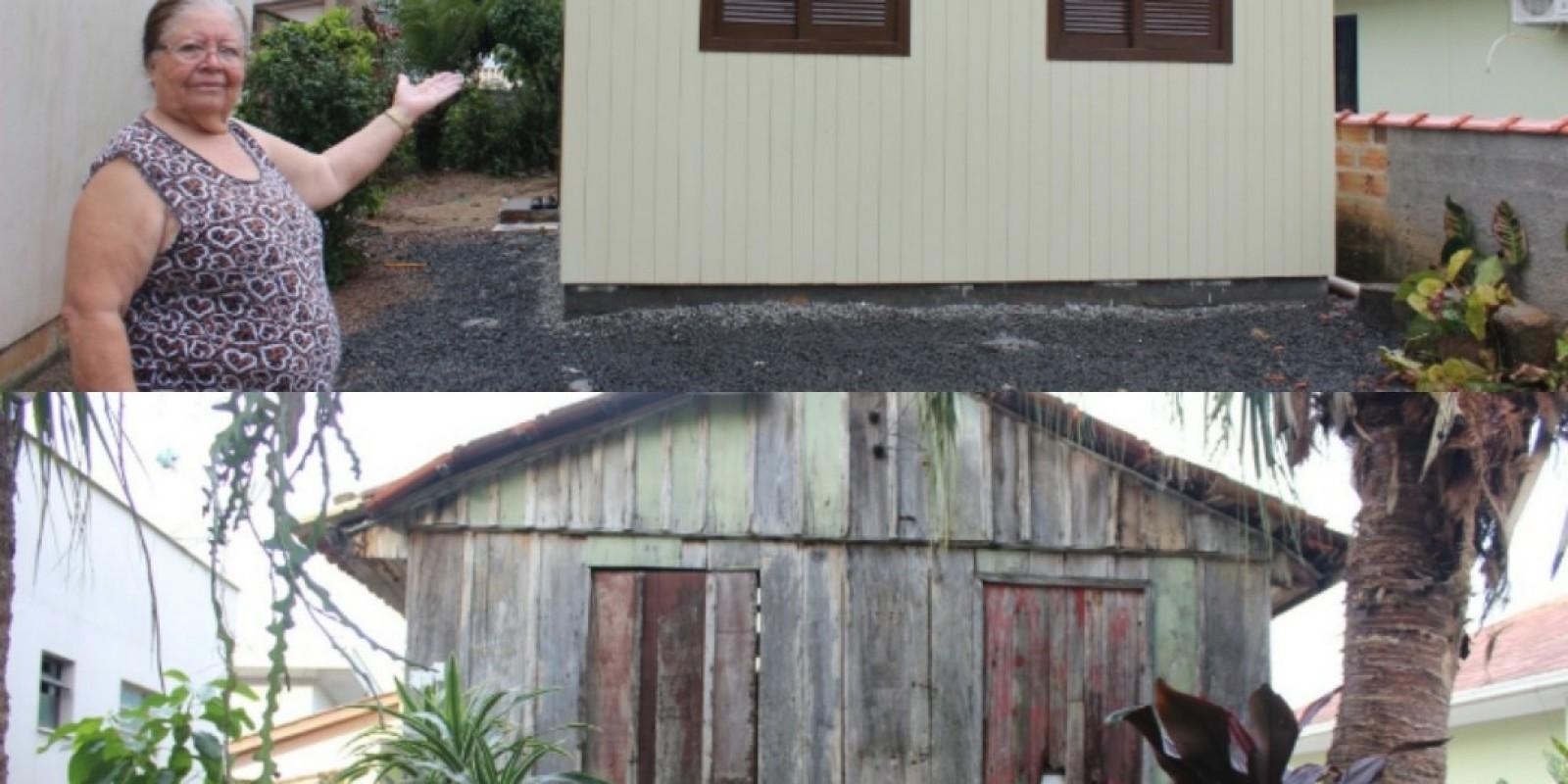 A felicidade de Dona Emília, 72 anos, ao entrar na casa nova construída há várias mãos