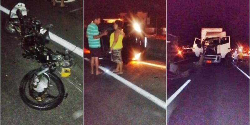 Acidente na BR-101 deixa trânsito lento, em Pescaria Brava