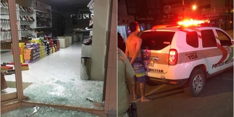 Foi preso: ladrão quebra vidraça e furta sapataria em Braço do Norte