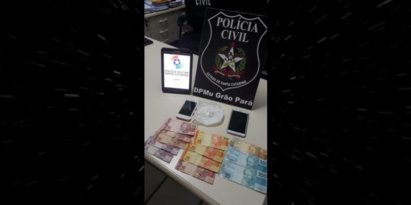 Operação conjunta da PC e PM prende homem por tráfico de drogas, em Grão-Pará