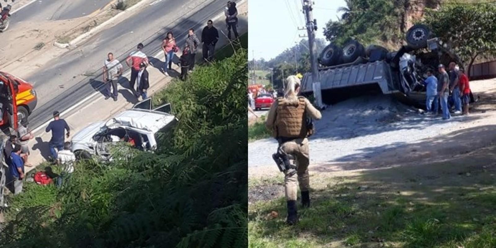 São Ludgero: acidente com caminhões resulta em vítima fatal