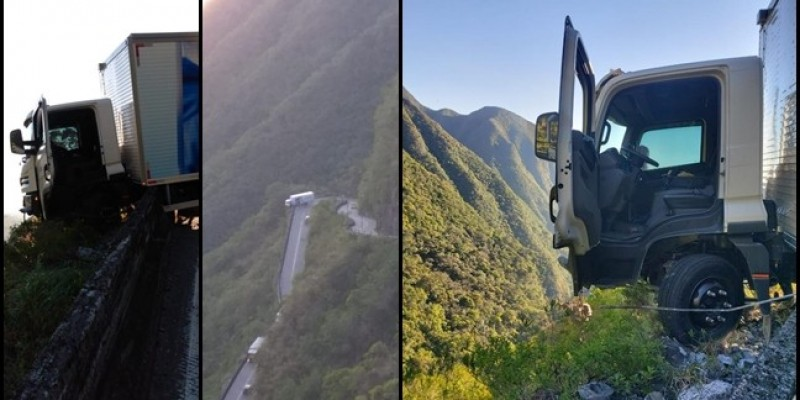 Caminhão sem freio atinge mureta de proteção na Serra do Rio do Rastro