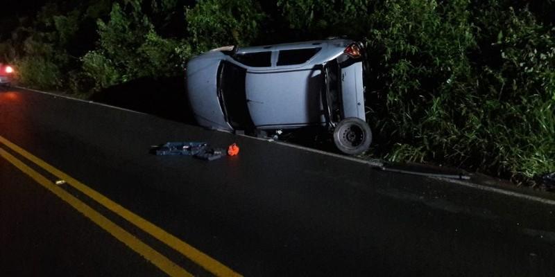 Capotamento é registrado em Urussanga; motorista apresentava sinais de embriaguez