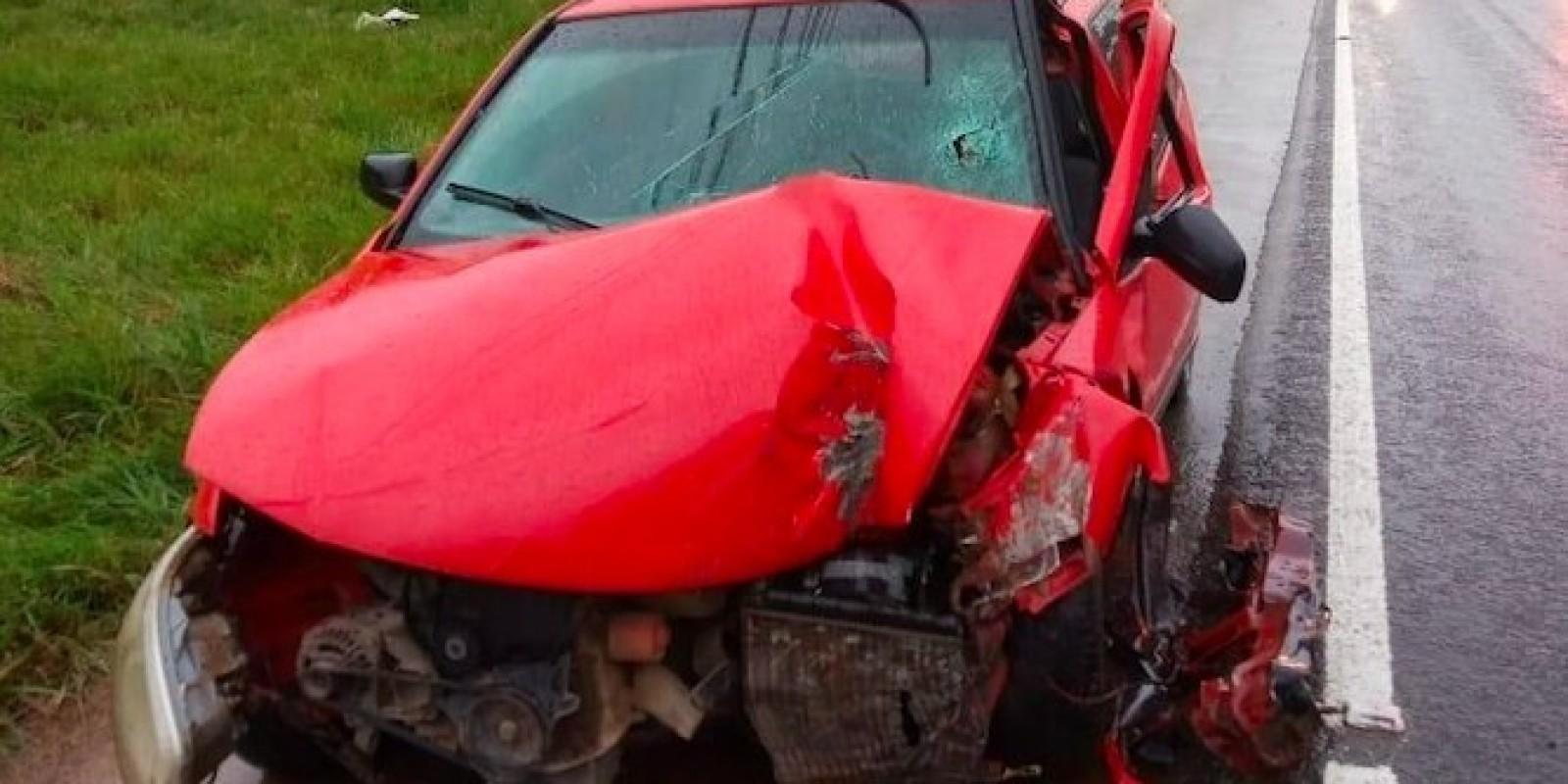 Motorista de Anitápolis perde o controle da direção e colide carro contra poste na SC-370