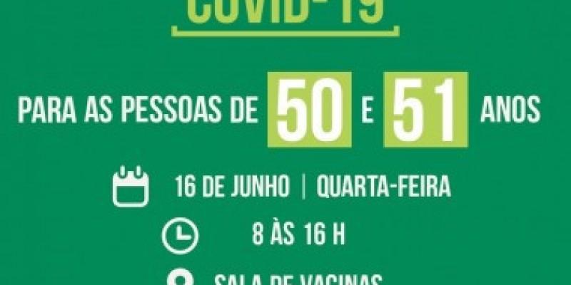 São Ludgero vacina contra Covid-19 pessoas com 50 e 51 anos sem comorbidades
