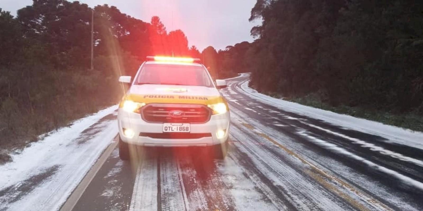 Rodovias são interditadas na Serra; sensação térmica é de -15,6ºC nesta quinta-feira