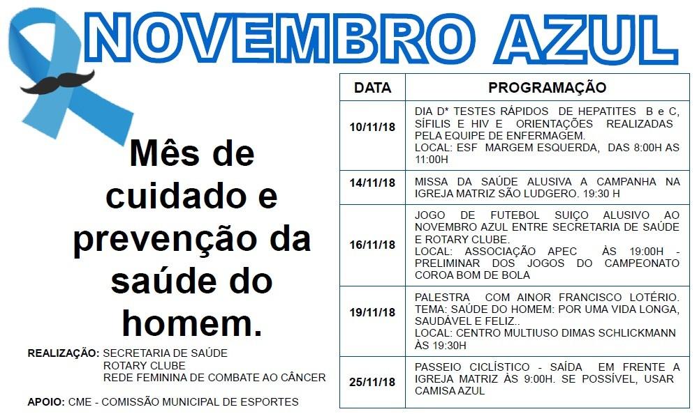 Vereador reforça ações da campanha Novembro Azul, em São Ludgero