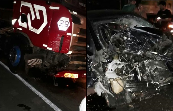 Colisão frontal entre carro e carreta é registrado na SC – 108, entre São Ludgero e Braço do Norte