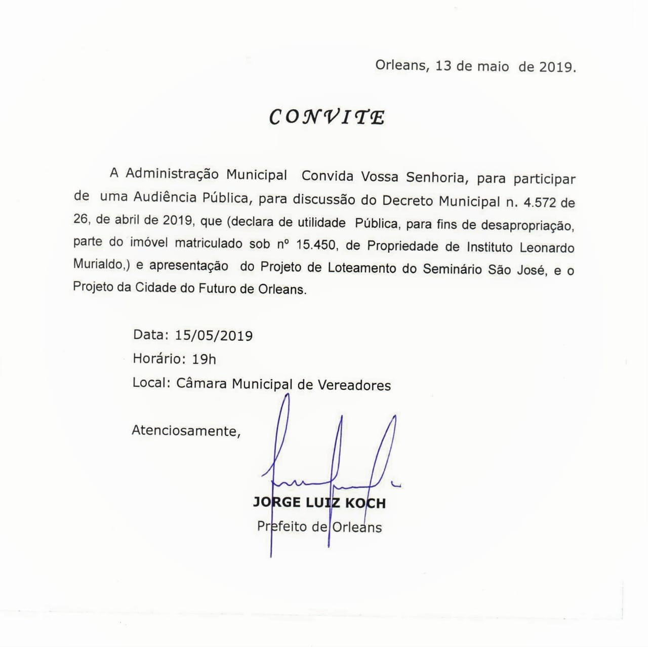 Administração de Orleans promove audiência pública para discutir decreto 4.572