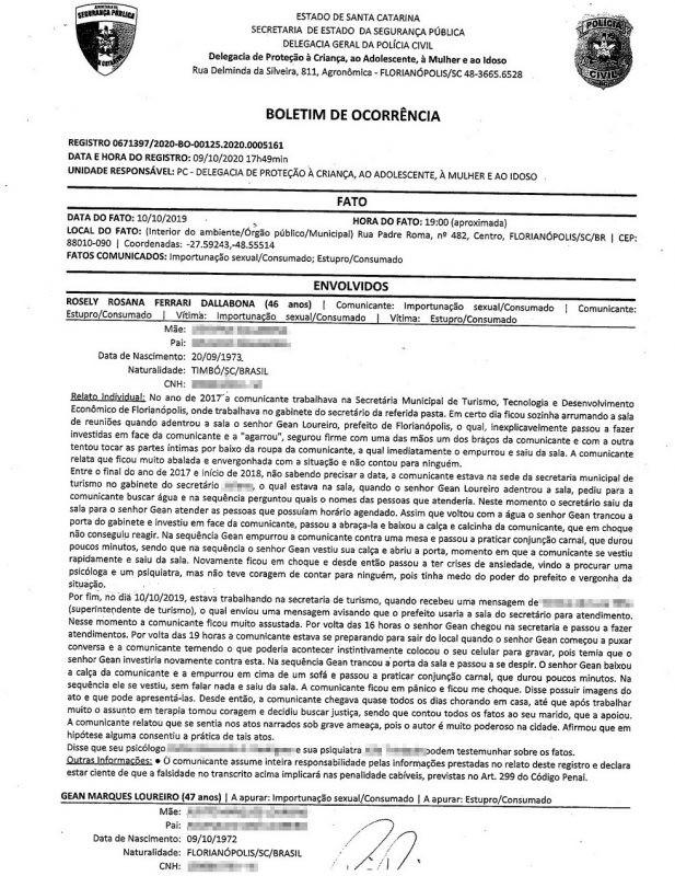 Prefeito Gean Loureiro é acusado de estupro