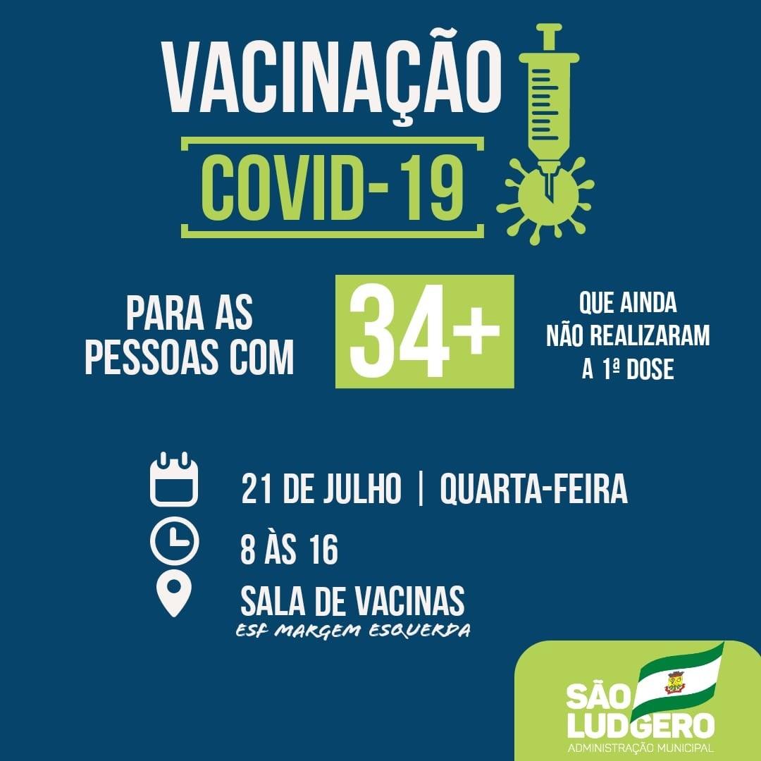 São Ludgero continua vacinando contra Covid-19 pessoas com 34 anos ou mais