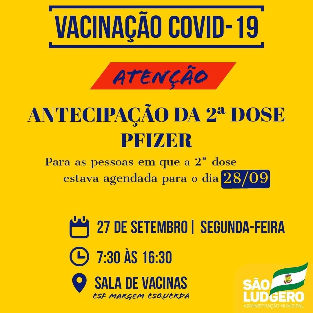 São Ludgero antecipa para hoje a segunda dose da vacina contra Covid-19